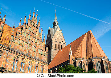 Old town hall and Marktkirche, Hannover, Lower Saxony,...