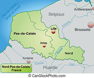 Map of North-pas-de-calais with borders in pastel green