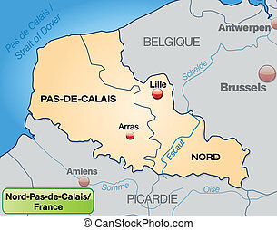 Map of North-pas-de-calais with borders in pastel orange