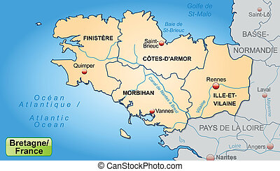 Map of Brittany with borders in pastel orange