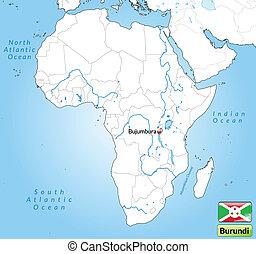 Map of burundi with main cities in gray