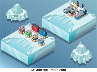 Isometric Arctic Town and Fish Canning Factory - Detailed...