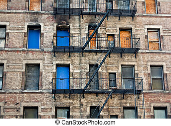 Boarded up Tenement - A boarded up tenement building in New...