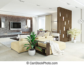 modern living room interior design 3d concept