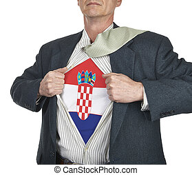 Businessman showing Croatia flag superhero suit underneath...
