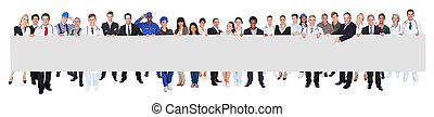 People With Various Occupations Holding Blank Billboard -...