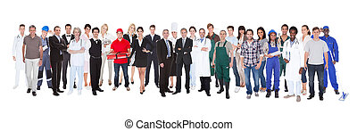 Full Length Of People With Different Occupations - Full...