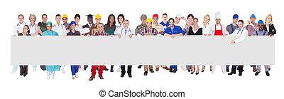 gente, con, vario, Ocupaciones, tenencia, blanco, cartelera