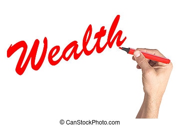 Hand writing word Wealth on white board