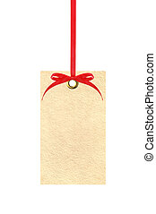 label (tag) with red ribbon isolated on white background