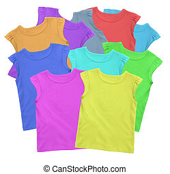 Lots of T-shirts colorful isolated on white