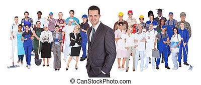 Lleno, Longitud, de, gente, con, diferente, Ocupaciones