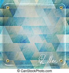 mosaic frame - glass frame over blue paper background with...