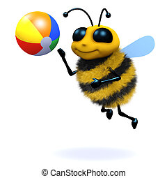 3d Bee beach ball - 3d render of a bee playing beach ball