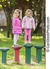 Girls playing in the park