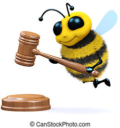 3d Bee auction - 3d render of a bee with an auctioneers...