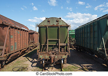 Industrial train vagons - Multiple old industrial train...