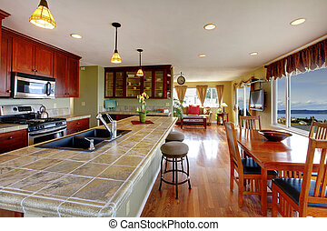 Open floor plan. Kitchen and dining area - Kitchen room with...