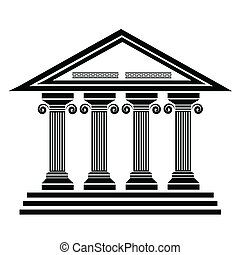 ancient columns - silhouettes of ancient columns on a white...