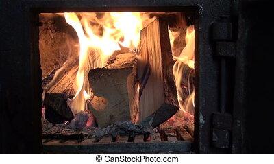 fire in furnace fireplace