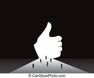 Business men and women thumbs up