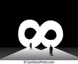 Business man and woman standing front of infinite infinity...