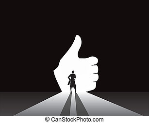 Business woman thumbs up door - Business woman silhouette...