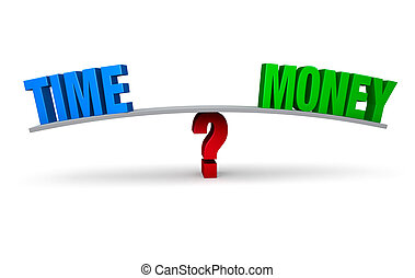 "Choosing To Spend Time Or Money - A bright, blue ""TIME"" and..."
