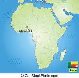 Map of benin with main cities in green