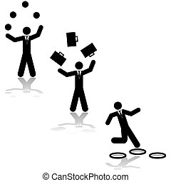 Business juggling - Concept illustration showing a...