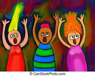Screaming People - Digitally painted group of cartoon people...