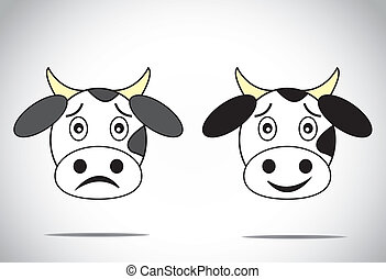 happy & sad faced cow illustrations