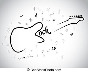 guitar shape rock music text notes - Rock Music electric...