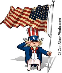 Uncle Sam Saluting the US WWI-WWII 48 star Flag - Vector...