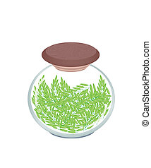 A Jar of Cereal Plant of Green Rice - Vegetable, An...