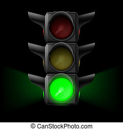 Traffic light with green on - Realistic traffic lights with...