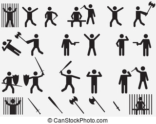 People with lethal weapons set illustration