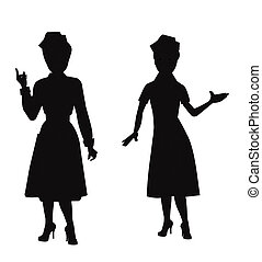 nurses in silhouette