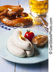 bavarian white sausages on a plate