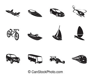 transportation and travel icons - Silhouette different kind...