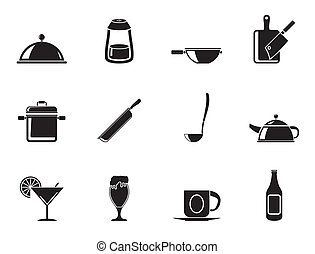 food and drink icons - Silhouette Restaurant, cafe, food and...