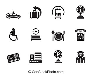 airport icons - Silhouette airport, travel and...