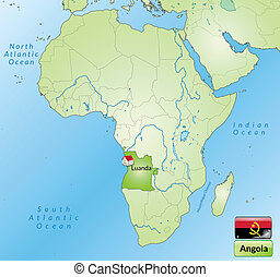 Map of angola with main cities in green