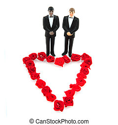 Gay wedding with red roses heart