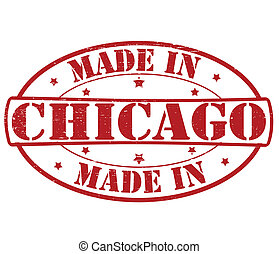Made in Chicago - Stamp with text made in Chicago inside,...