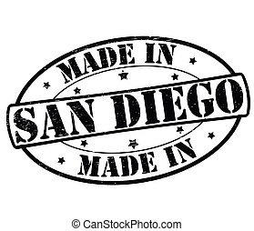 Made in San Diego - Stamp with text made in San Diego...