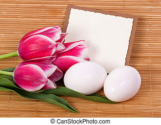 Banner add with Easter quail eggs