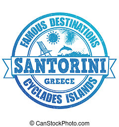 Santorini, famous destinations stamp - Famous destinations,...