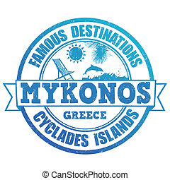 Mykonos, famous destinations stamp - Famous destinations,...