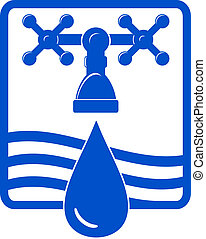 water drop and spigot icon - isolated water drop and spigot...